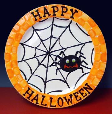 spider plate halloween plateshalloween halloweenhalloween costumesceramic - Halloween Plates Ceramic