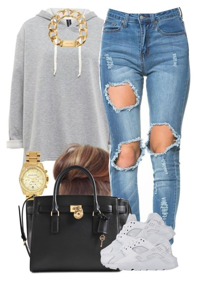 """White Huaraches."" by livelifefreelyy ❤ liked on Polyvore featuring Michael Kors and NIKE"