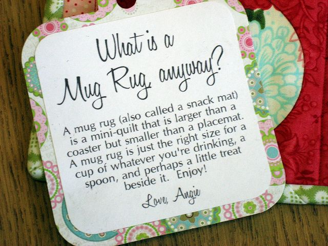 tag idea for gifted mug rugs... what a cute gift with a mug and bag of coffee or cocoa!