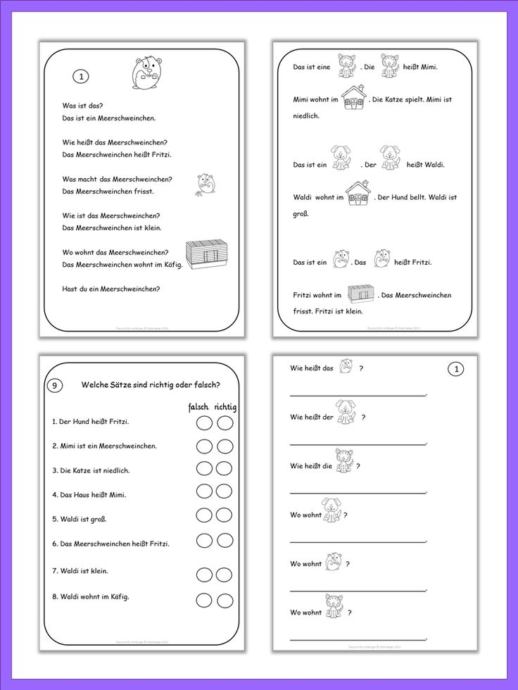 Easy German texts and worksheets for beginning learners.
