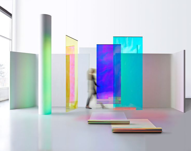 3M Dichroic Glass Finishes, featured on glass panels and roll form.