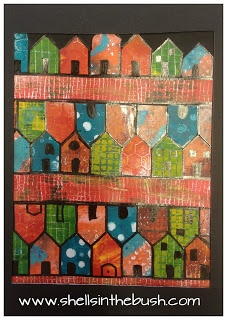 Hundertwasser's Red Streets re-created with with gelli prints by Michelle Reynolds. www.shellsinthebush.com