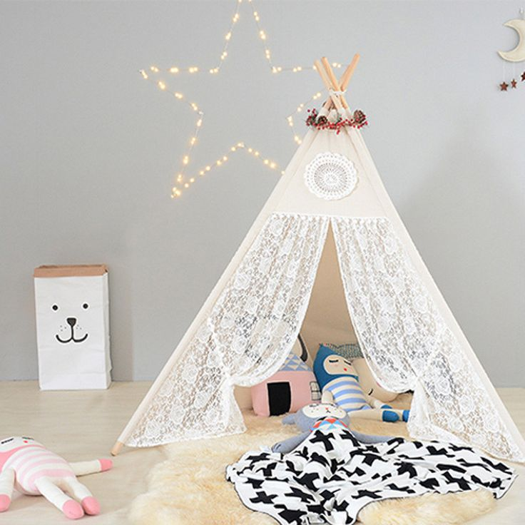 Four Poles Children Teepees Lace Cream Tent