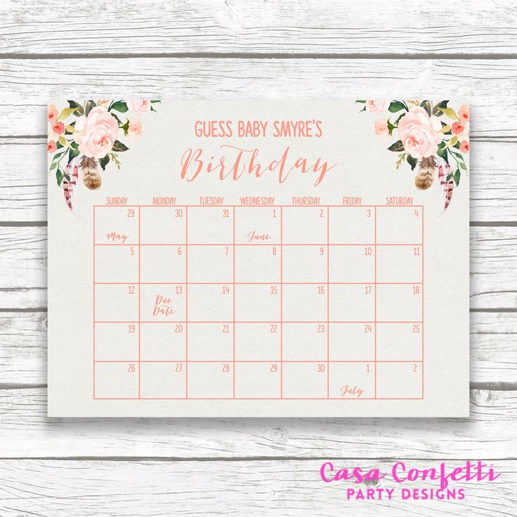 Boho Due Date Calendar, Baby Shower Birthday Predictor, Printable Guess the Baby's Due Date, Peach Floral Poster Sign, Shower Game by CasaConfetti on Etsy https://www.etsy.com/listing/287959955/boho-due-date-calendar-baby-shower