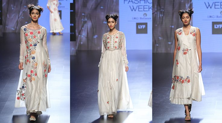 【Lakmé Fashion Week:Prama by Pratima Pandey】 Displaying femininity at its best on the last day of Lakmé Fashion Week 2016 was Prama by Pratima Pandey. Pristine whites and delicate floral embroidery in hints of red and gold were seen which relayed the theme of the collection aptly titled 'The Proposal', inspired by Charles Dickens classic novel. Safe to say, we fell in love.