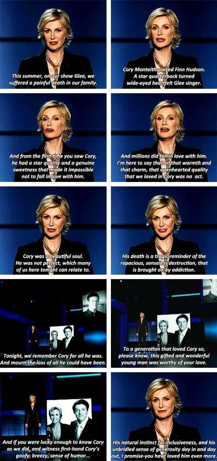 Jane Lynch's speech and tribute to Cory Monteith at the 2013 Emmy Awards