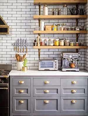 Gray kitchen with shelves