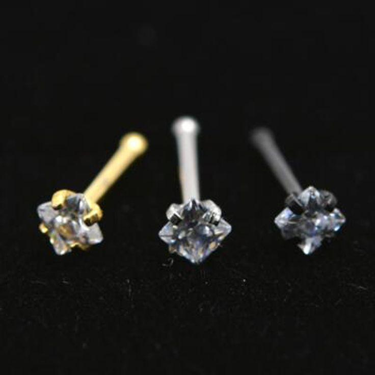 2 Piece 20Gx6x2mm Emas Persegi Zircon Cincin Hidung Pejantan Cincin Perak Perhiasan Tubuh Piercing Tragus Ear Piercing Anting Hidung Kuku
