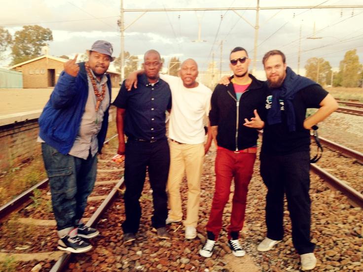 T, Mo Molemi, Vincent Moloi, AKA & Jaco van Bitterender - Afrique Shoot, Christiana Train Station - Far Away, SA