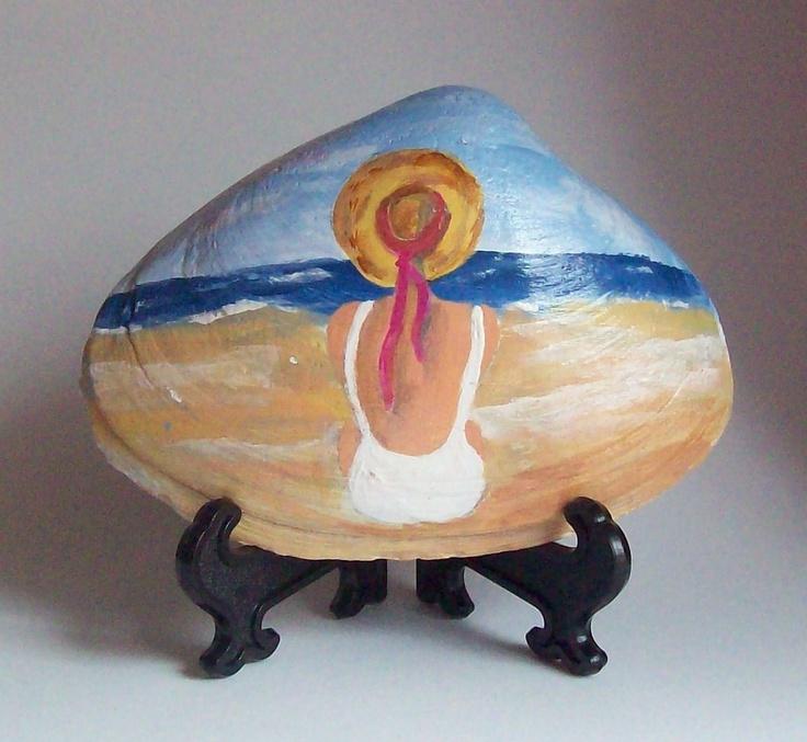 Hand painted sea shell art.