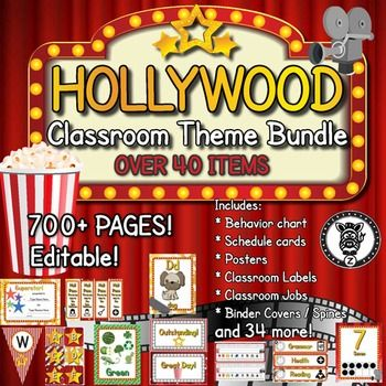 Hollywood / Movie / Cinema / Stars - Classroom Theme / Decor / Organization Mega Bundle. Includes behavior chart, schedule cards, posters, classroom labels, binders, management tools, printable decorations, classroom organization and more!