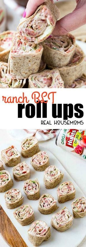 Ranch BLT Roll Ups are a hit at every party! Bacon, lettuce and tomato are even better with ranch dressing and cream cheese! These are perfect for game day! via @realhousemoms