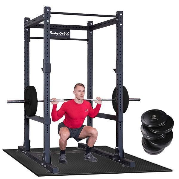 Body-Solid SPR1000 Power Rack Pack with Weight Set  SPR1000FFP1 - Includes Heavy Duty SPR1000 Power Rack, 260lb. Olympic Rubber Bumper Plate Set with Bar, Shok-Lok Floor Mat
