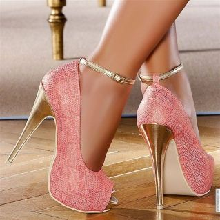 Pink and Gold Peep Toe Pumps