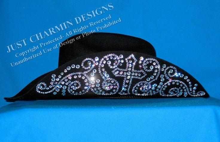 Just Charmin' Designs - Rhinestone Cross Black Felt Cowboy Hat