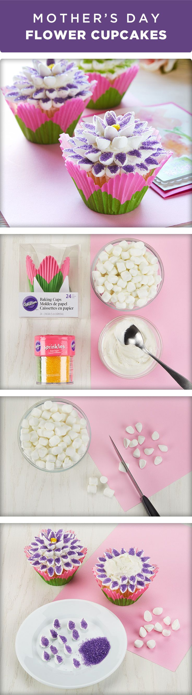 Impress Mom with your baking skills with these Marshmallow Flower Cupcakes. Here's a tip! Buy premade cupcakes and add these colorful sugared flower toppers in just a few steps! To learn how and get the materials you need to make these sweet treats, visit Michaels.com.