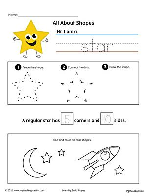 All About Star Shapes in Color Worksheet.Learn all about the star shape in this printable worksheet. Practice tracing, drawing, and coloring pictures of star shapes.