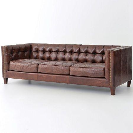 Abbott Vintage Cigar Tufted Leather Sofa