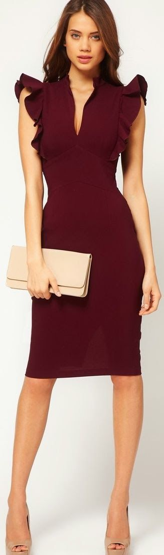 Flattering burgundy dress with ruffles shoulders