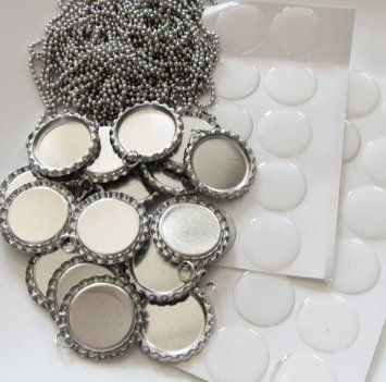 "Bottle Caps,Beads and More (TM) 10 Flat Bottle Cap pendants, 10 Epoxy Stickers and 10 24"" Inch 2.4 mm ball chains - Bottle cap necklace kit"