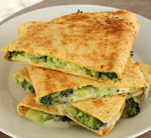 Quesadillas de brocoli y queso azul