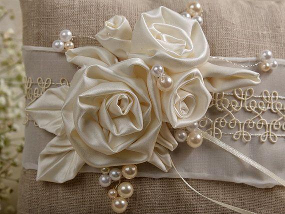 Natural Linen Wedding Pillow  Ring Bearer Pillow by DecorisWedding, $40.00