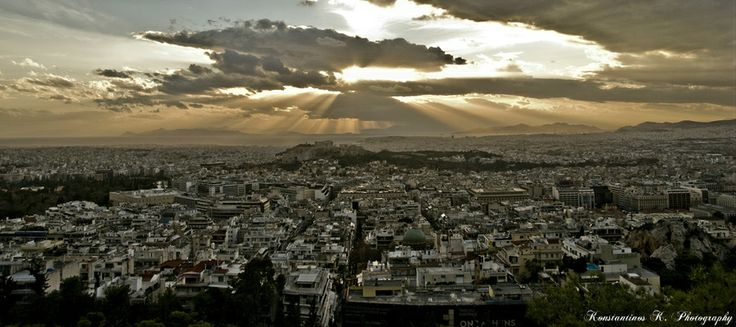 #Greece #Athens #sun #behind #a #clouds