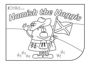 Enjoy colouring in these activities! With this printable activity, you can colour in Hamish the Haggis, for Burns' Night!