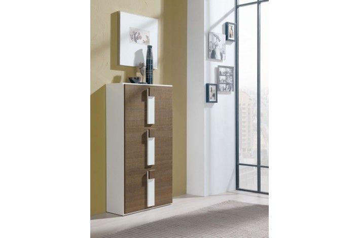 Zapatero de 3 puertas abatibles con un moderno diseo combinado en blanco y natur  Merkamueble TodoEnOrden  Muebles zapateros  Pinterest