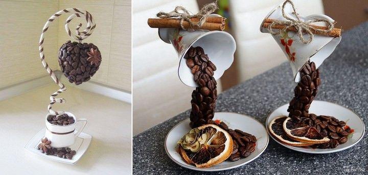 Топиарии с зернышками кофе – это настоящие кофейные деревца, дизайн которых может быть самым разным. От простого мини-дерева в горшочке с круглой кроной до так называемой «парящей чашки» и кофейного-кошелечка
