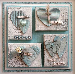 art canvas fromCrafty Individuals Blog: March 2011 ... shabby chic styling ... pastel blues ... would be great done in paper as valentine/love cards ...textured hearts with pearls on distressed backgrounds ...