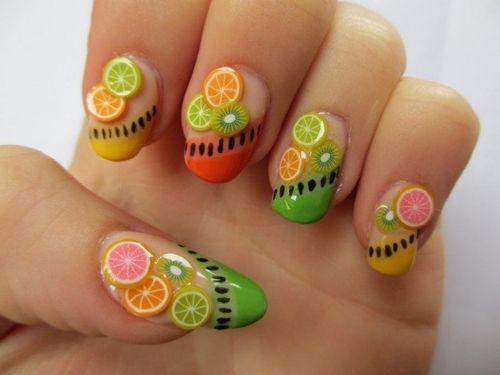 Fruit inspired nail art for summer.