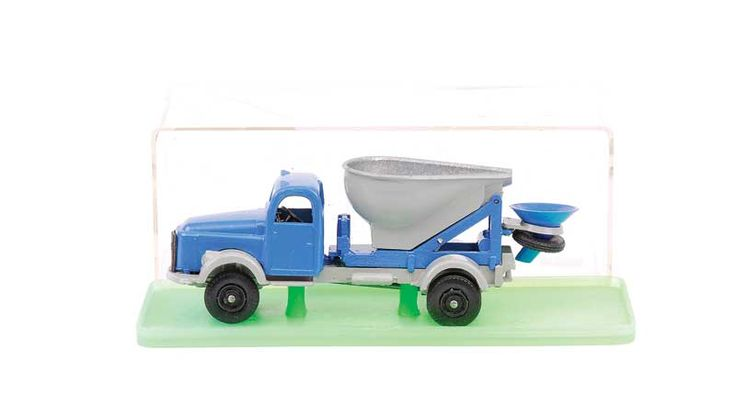 Vilmer Volvo Hopper Truck - blue long bonneted cab and rear body, grey rear hopper and matching chassis, black plastic wheels with spare tyre to rear