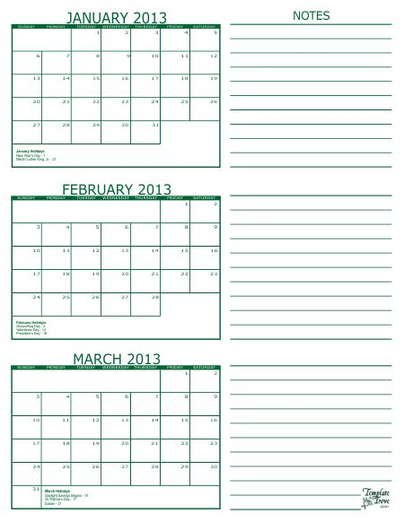 Free printable 3 month calendar in PDF format. Five colors to choose from. 3 calendar months per page.