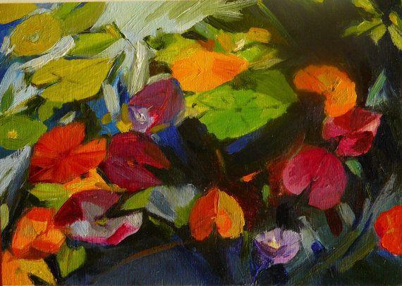 Lily leaves 2 framed original oil painting on wood by ArtsAnita