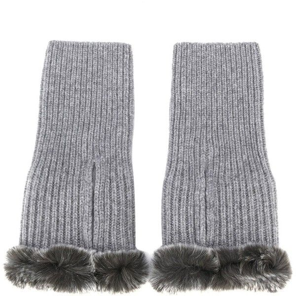 N.Peal cashmere fingerless gloves (780 CNY) ❤ liked on Polyvore featuring accessories, gloves, grey, gray gloves, grey gloves, fingerless gloves, grey fingerless gloves and gray fingerless gloves