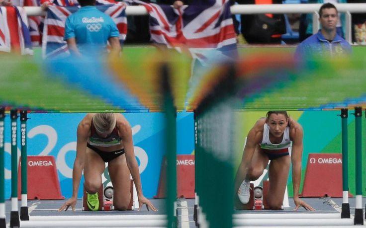 Britain's Jessica Ennis-Hill prepares for her 100 metre hurdles