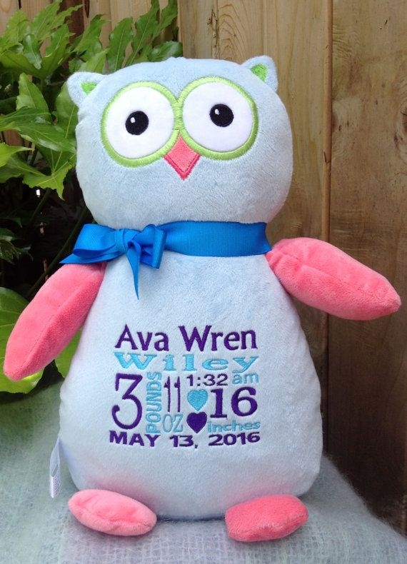 430 best personalized baby gifts images on pinterest personalized baby gift monogrammed owl new by worldclassembroidery negle Image collections