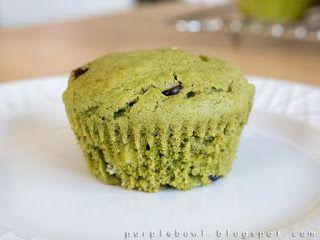 Purple bowl: Green tea muffins recipe