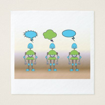 Robots With Speech Bubbles Paper Napkins - home gifts ideas decor special unique custom individual customized individualized