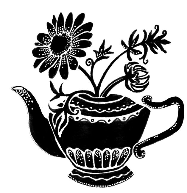Hand drawn teapot sketch for tea packaging