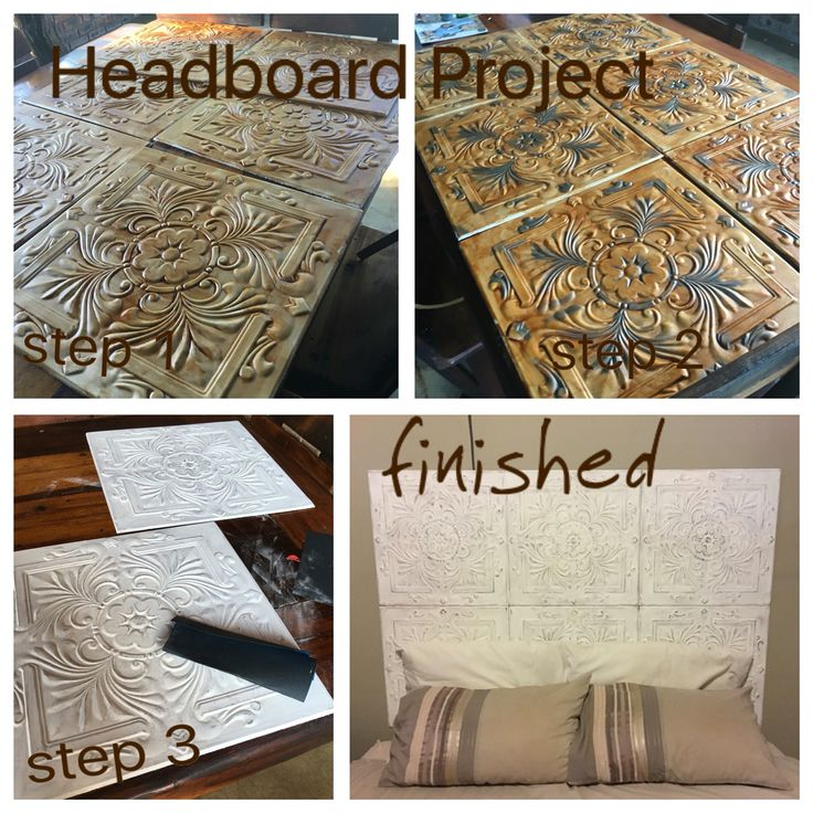 Headboard project - buy your own ceiling panels for only R137 - stain (mahogany) - add a darker metallic colour - paint white - sand gently with a p220 sanding paper. Finished
