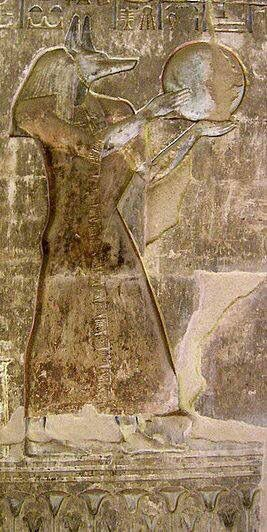 Ancient Egyptian God Anubis / Anpu playing a frame drum. This relief is unique as Anubis is the only God depicted this way. - Pinterest