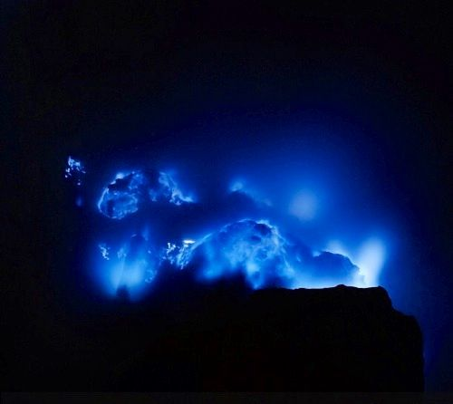 Blue fire in ijen crater banyuwangi
