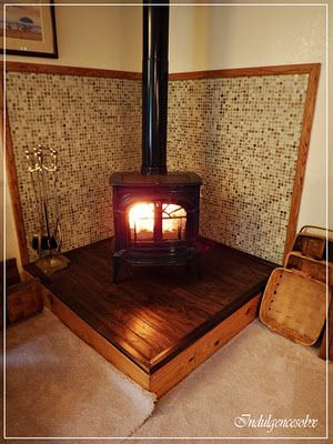 Glass Tile Wood Stove Surround My Home My Style Wood Stove