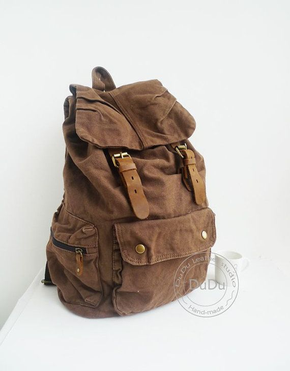 Men's Canvas Backpack   Leather Canvas  Bag Army by DDLeather, $45.00