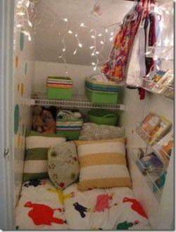 Kid reading nook in Closet
