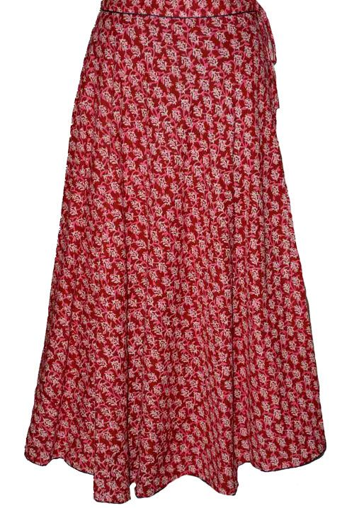 Maroon Coloured Block Print Jaipuri Wraparound Skirt  http://alicolors.com/index.php?route=product/product&product_id=1172