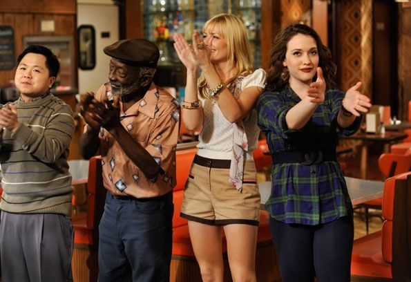 hank You! Behind the scenes: Curtain call on the set of 2 BROKE GIRLS. From left to right, Matthew Moy (Han Lee), Garrett Morris (Earl), Beth Behrs (Caroline Channing), Kat Dennings (Max Black)