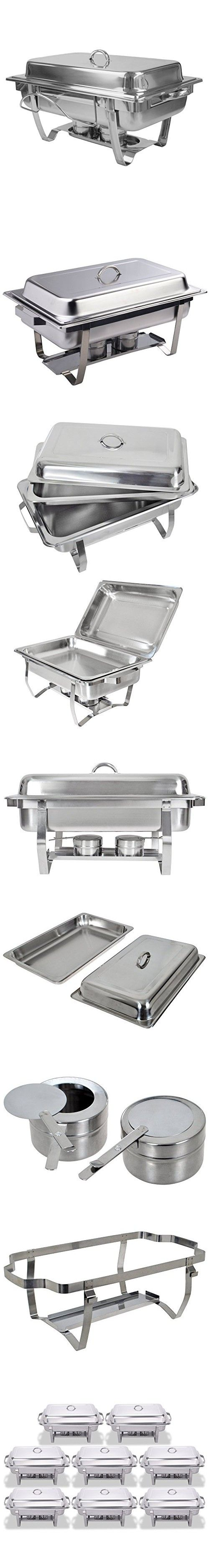 FoodKing Chafing Dish Set of 8 Stainless Steel Chafer Full Size 8 Quart Chafing Dishes for Catering Buffet Warmer Tray Kitchen Party Dining (Set of 8)